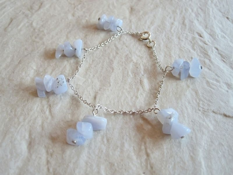 Pastel Baby Blue Lace Agate & Sterling Silver Chain Bracelet