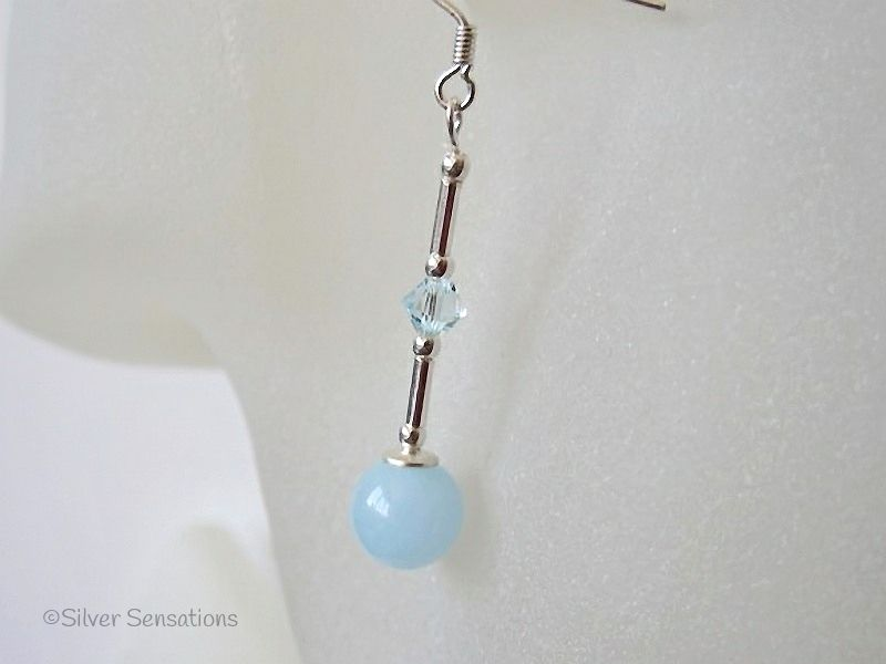 Pastel Blue Jade Earrings With Swarovski Crystals & Sterling Silver Tubes