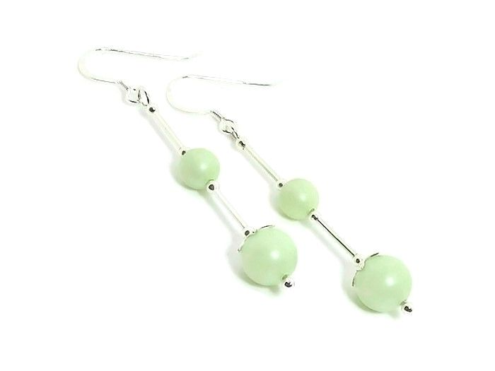 Pastel Green Swarovski Pearl Earrings With Sterling Silver Tubes