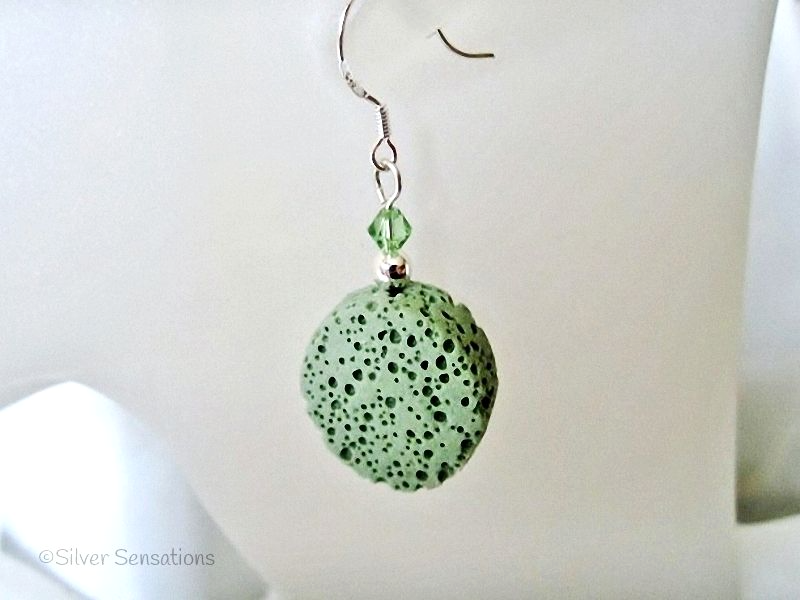 Pastel Green Volcanic Lava Coin, Swarovski Crystals & Sterling Silver Short Drop Earrings