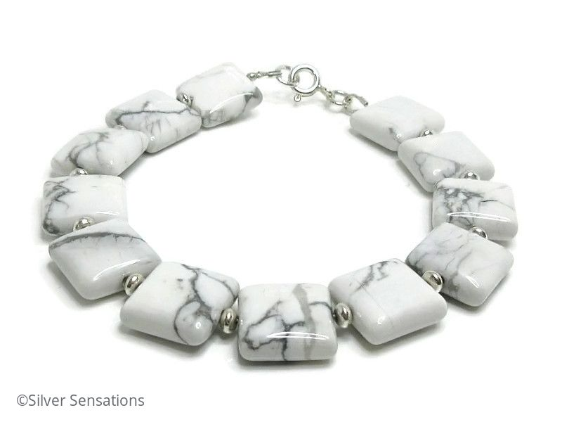 Pastel Grey & White Howlite Turquoise Flat Beads & Sterling Silver Bracelet