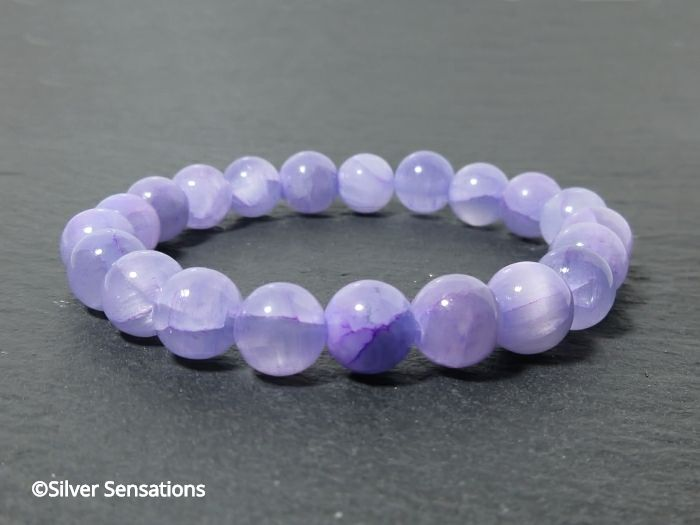 Pastel Lavender Purple Jade Beaded Fashion Bracelet | Silver Sensations