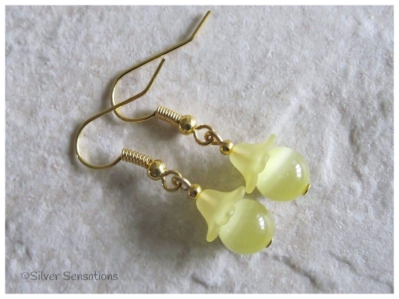 Pastel Lemon Yellow Beaded Fashion Earrings