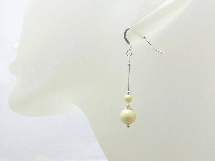 Pastel Lemon Yellow Pearls Wedding Earrings With Sterling Silver Tubes