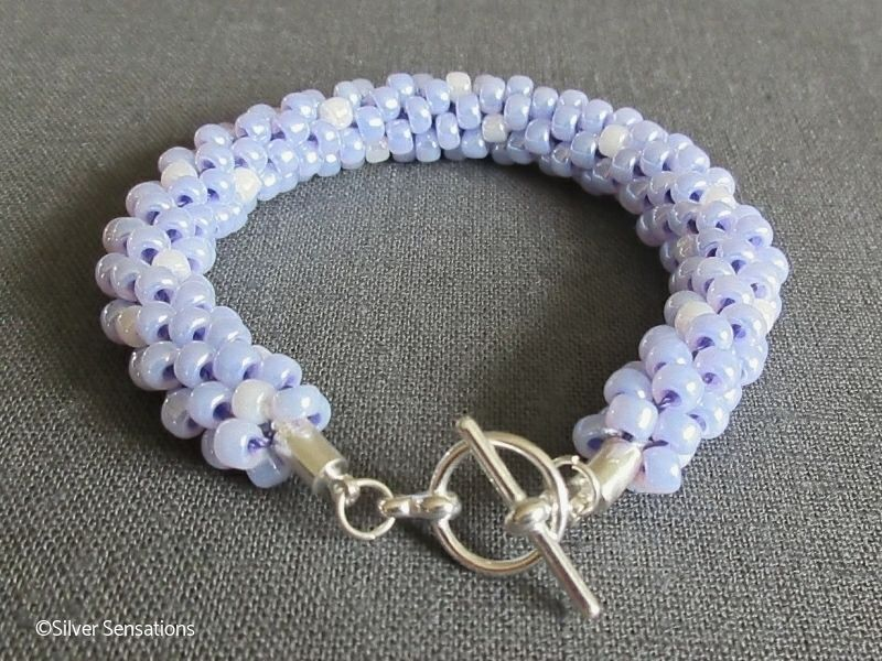 Pastel Lilac Purple & Pearly White Beaded & Woven Kumihimo Seed Bead Bracelet