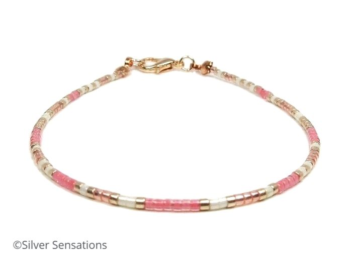 Pastel Pink, Cream & Rose Gold Seed Bead Bracelet