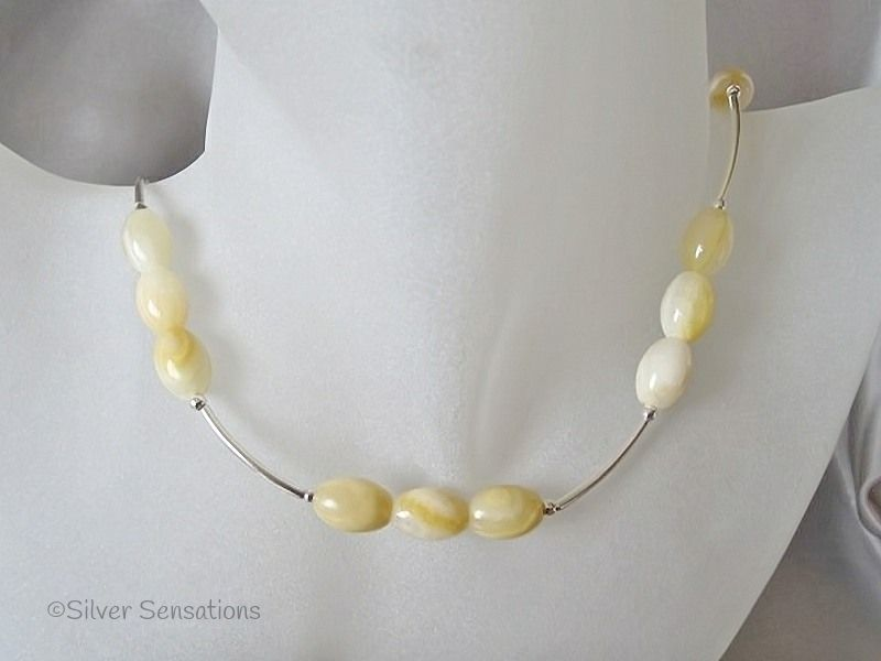 Peach & Cream Bowenite Jade & Sterling Silver Curves Necklace