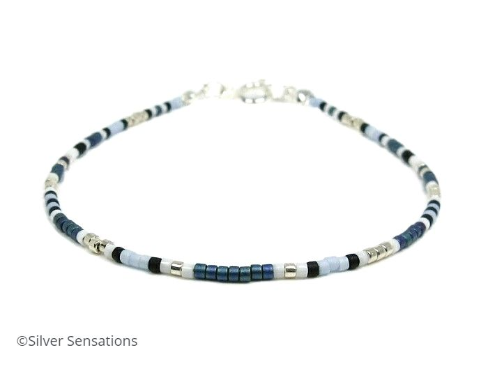 Peacock Blue, White & Silver Seed Bead Friendship Bracelet