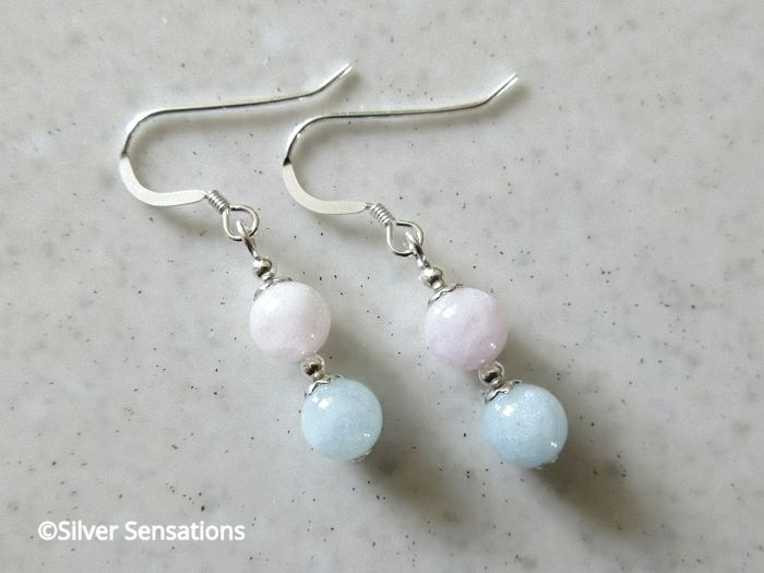 Pink & Blue Morganite Dainty Earrings With Sterling Silver