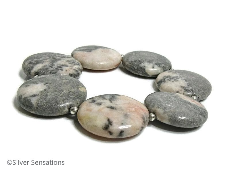 Pink & Grey Flamingo Jasper Coin Beads & Sterling Silver Chunky Cuff Bracelet