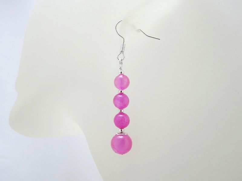 Pink Jade & Silver Plated Fashion Dangly Earrings