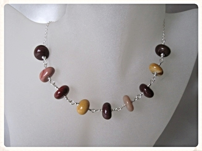 Pink, Mauve, Plum & Mustard Mookaite Jasper Nugget Beads & Sterling Silver Chain Necklace