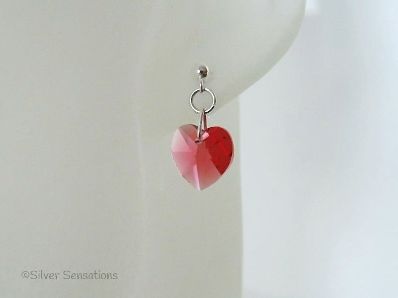Pink Orange Swarovski Heart Crystals & Sterling Silver Elegant Dangly Stud Earrings