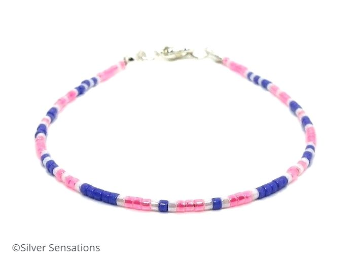 Pink, Purple & White Seed Bead Skinny Friendship Bracelet