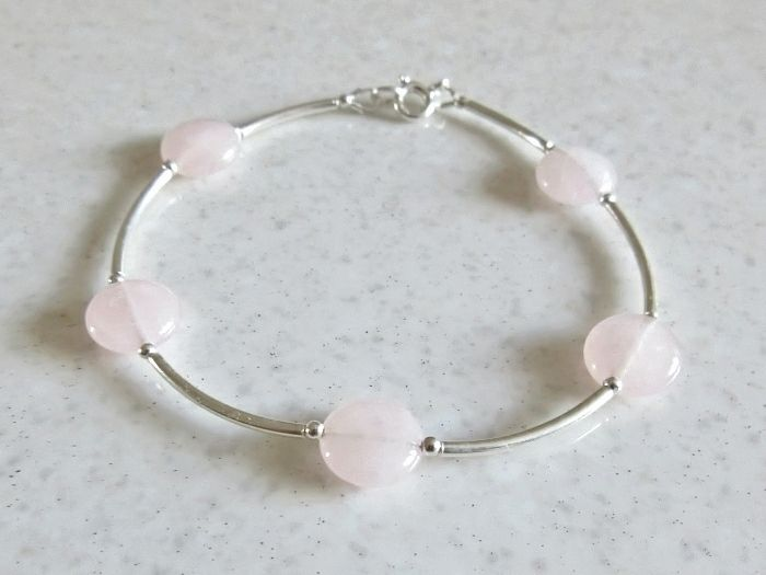 Pink Rose Quartz Coin Beads & Sterling Silver Bangle Bracelet