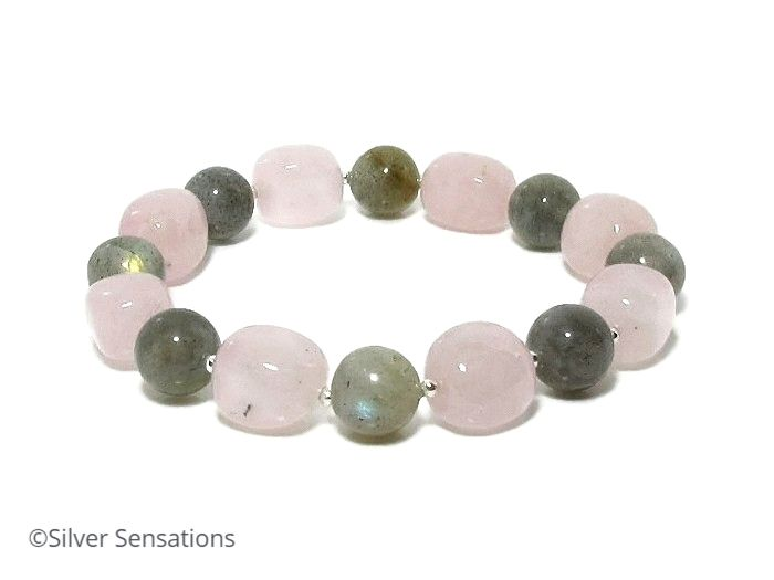 Pink Rose Quartz & Grey Labradorite Beads Bracelet With Sterling Silver