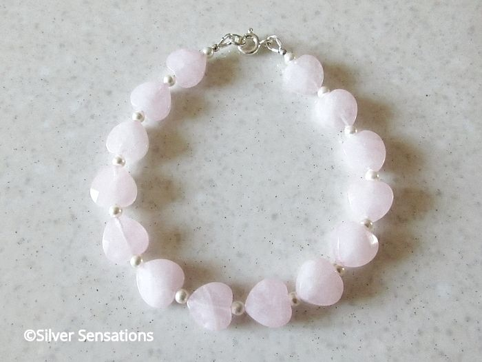 Pink Rose Quartz Hearts Beaded Bracelet With White Swarovski Pearls