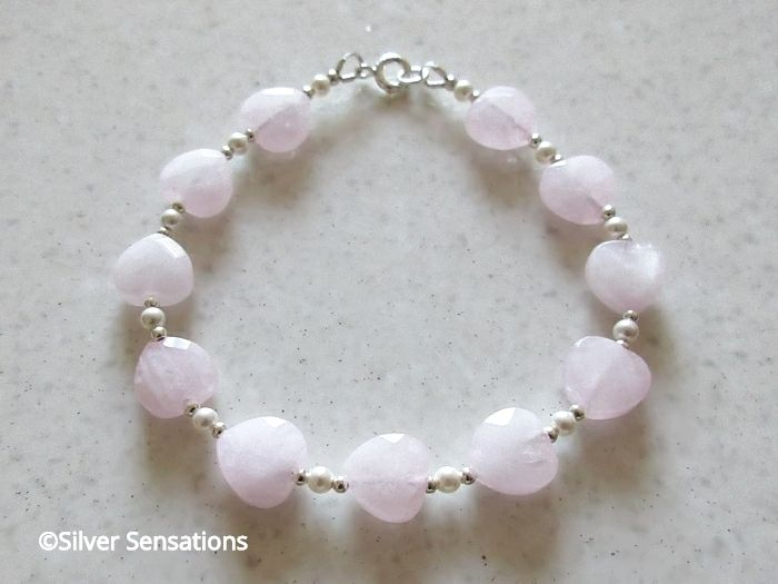 Pink Rose Quartz Hearts Beaded Sterling Silver Bracelet With White Swarovski Pearls