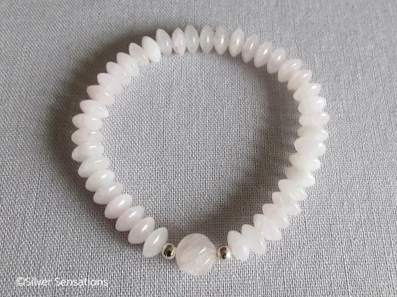 Pink Rose Quartz Saucer Rondelle Beaded Bracelet With Sterling Silver