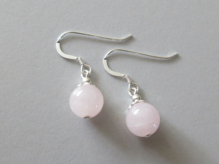 Pink Rose Quartz & Sterling Silver Earrings