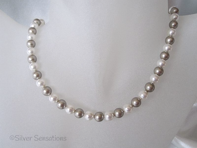 Platinum Colour & White Swarovski Pearls Handmade Sterling Silver Necklace
