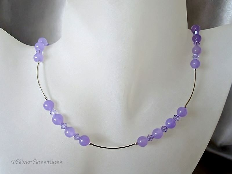 Plum Lavender Purple Jade Necklace With Swarovski Crystals & Sterling Silver