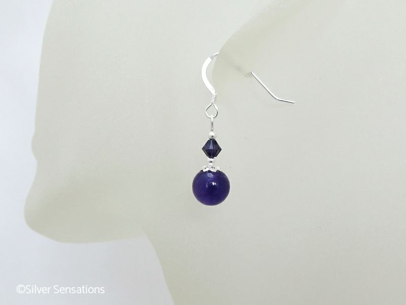 Purple Amethyst, Swarovski Crystals & Sterling Silver Short Drop Earrings