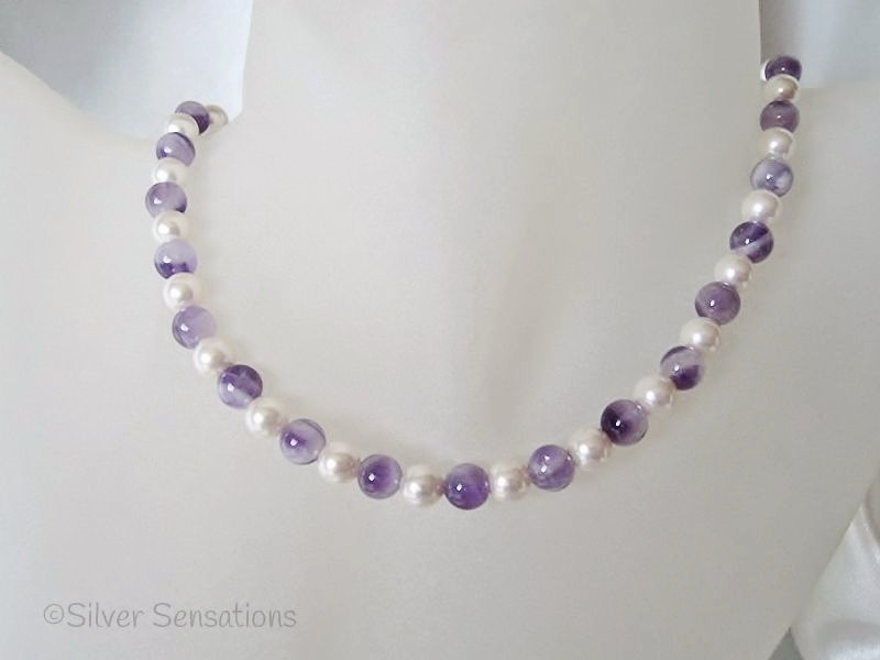Purple Amethyst & White Swarovski Pearls Sterling Silver Necklace