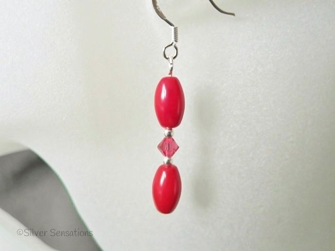 Red Coral Rice & Red Crystals Sterling Silver Dainty Drop Earrings