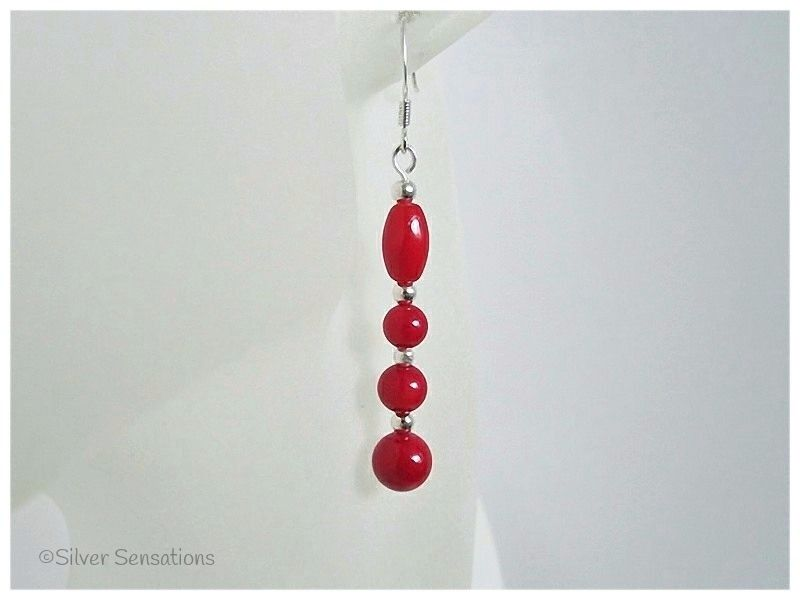 Red Coral Rice & Round Beaded Sterling Silver Earrings