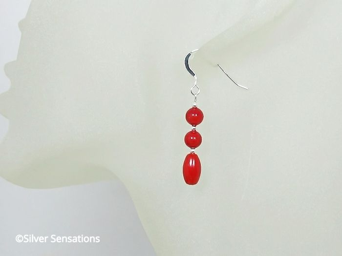 Red Coral Rice & Rounds Sterling Silver Earrings