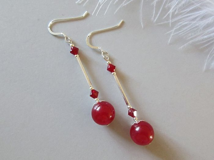 Red Jade Earrings With Swarovski Crystals & Sterling Silver Tubes
