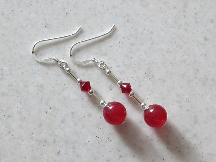 Red Jade Sterling Silver Earrings With Swarovski Crystals