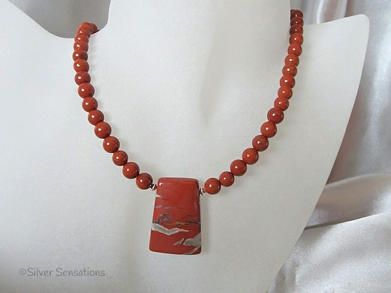 Red River Jasper Oblong Pendant Necklace With Red Jasper & Sterling Silver