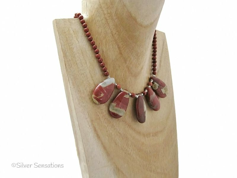 Red River Jasper Teardrop Pendants Necklace With Sterling Silver