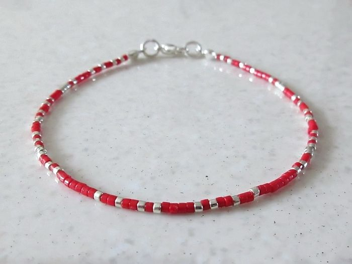 Red & Silver Seed Bead Friendship Stacker Bracelet