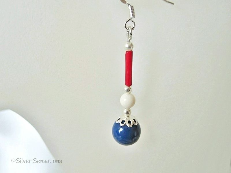 Red White & Blue! Red Sterling Silver Earrings With White & Blue Swarovski Pearls