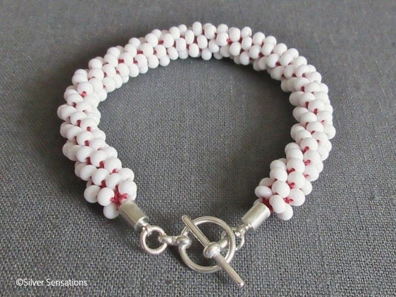 Red & White Kumihimo Seed Bead Fashion Bracelet | Silver Sensations