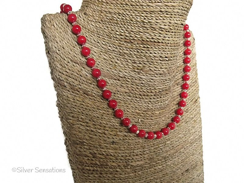 Rich Red Coral & Sterling Silver Bicones Necklace