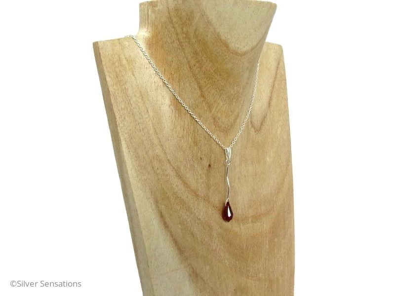 Ruby Red Swarovski Crystal & Sterling Silver Curved Bar Pendant Necklace