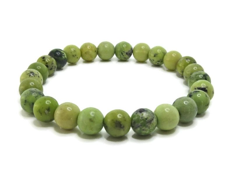 Shades of Green Chrysotine Jasper Beaded Stretch Bracelet