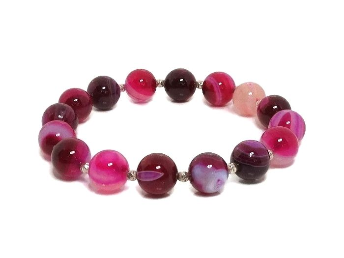Shades of Pink Banded Agate Beaded Bracelet With Sterling Silver
