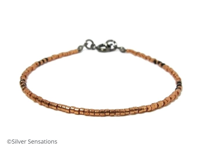 Shiny Copper Colour & Black Seed Bead Bracelet
