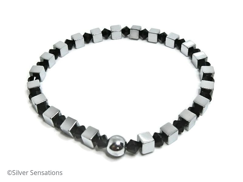 Silver Hematite Cube Beads Unisex Bracelet With Black Crystals