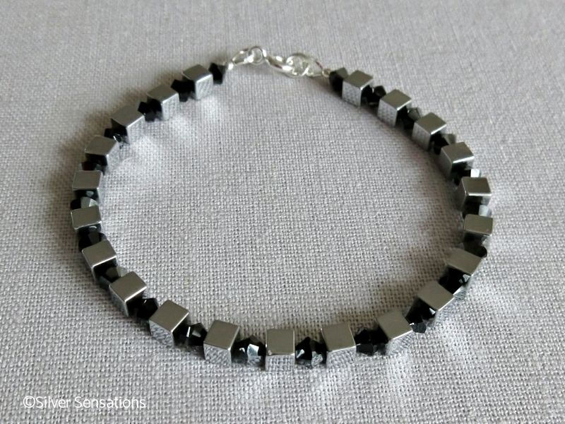 Silver Hematite Cube Beads Unisex Sterling Silver Bracelet With Black Crystals