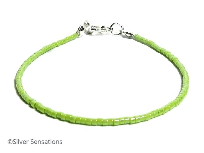 Skinny Lime Green Layering Seed Bead Beach Anklet