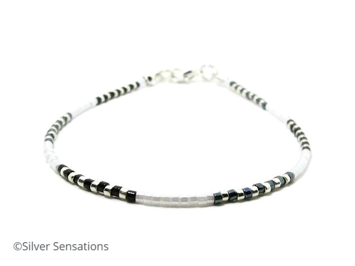 Slim Black, White & Silver Seed Bead Friendship Anklet
