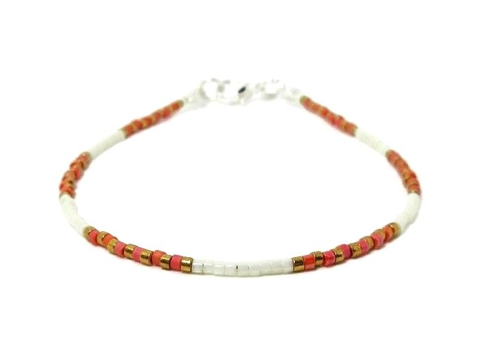 Slim Dark Orange, White & Gold Stacker Friendship Bracelet