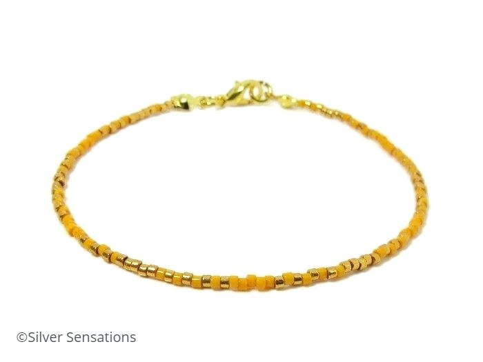 Slim Orange & Gold Boho Friendship Bracelet