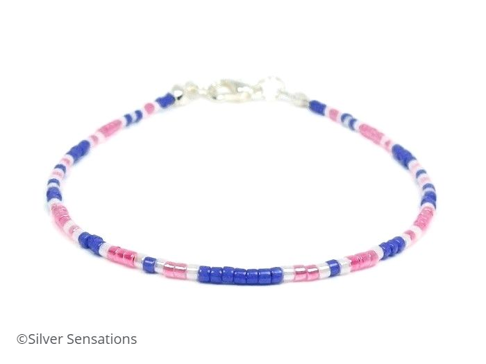 Slim Pink, Purple & White Seed Bead Stacking Bracelet